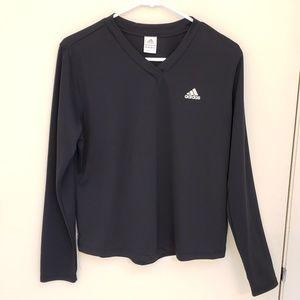 Adidas Black Climalite V-neck Long Sleeve Shirt L
